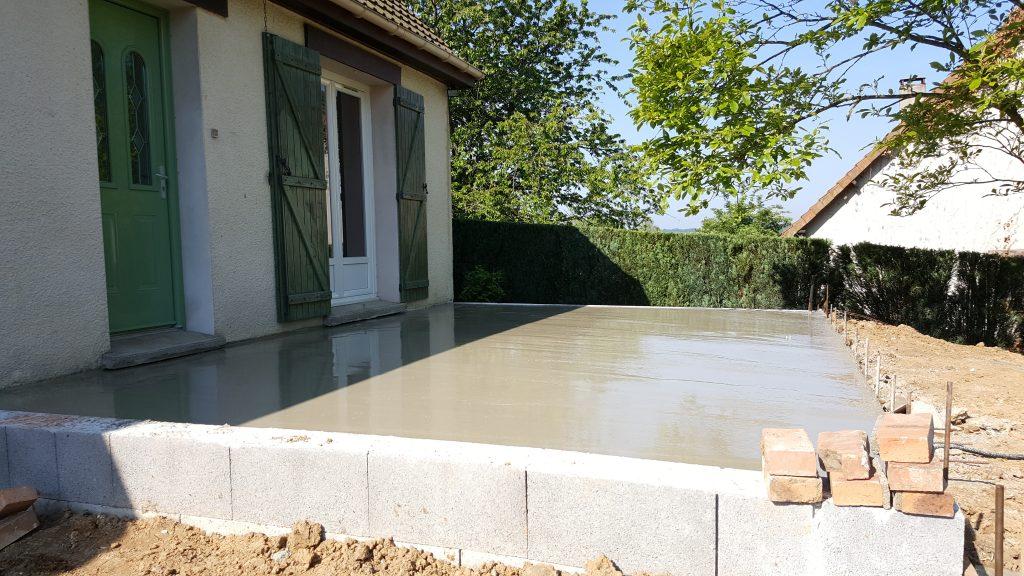 Mur bancher plus dal béton faite